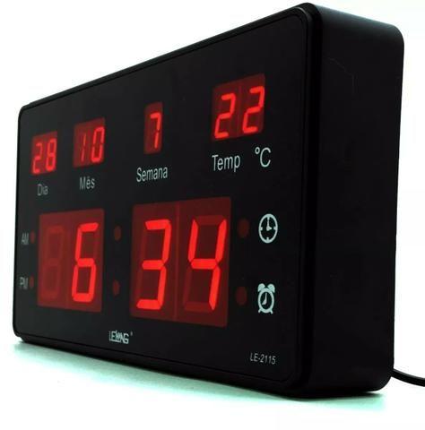 Relógio de Parede LED Digital Temperatura Grande