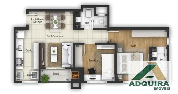 Apartamento com 2 quartos no Le Raffine Residence - Bairro Estrela em Ponta Grossa - Foto 5