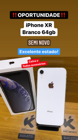 Instagram: @kaxu_imports - iPhone XR Branco 64gb - Estado de zero!