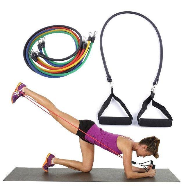 Kit Elásticos Para Exercícios De Resistência 11 Peças CrossFit - Foto 3