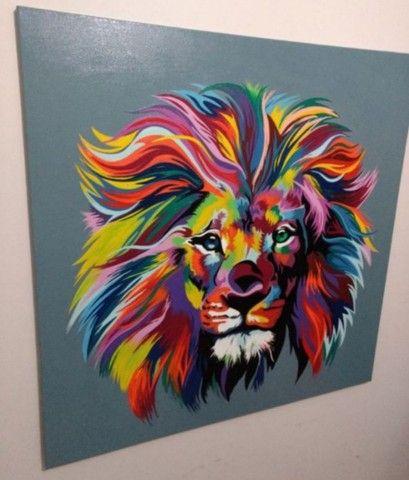 Quadro Leão a óleo  - Foto 2