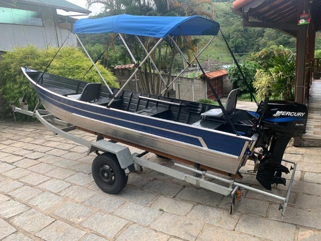 Barco alumínio de bico borda alta 5m semi novo - Foto 7