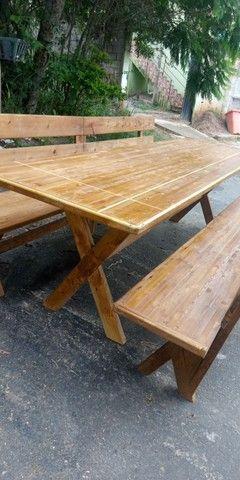 Mesa x de madeira com 2 banco - Foto 3