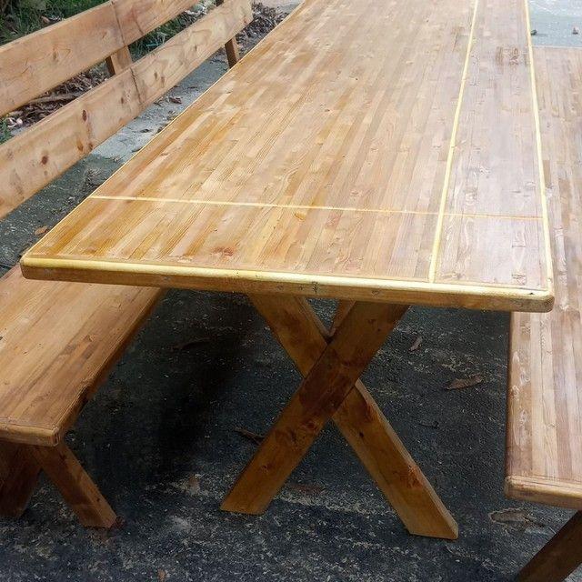 Mesa x de madeira com 2 banco - Foto 5