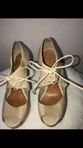 Sandal boot couro salto fino amarração Schutz tamanho 34