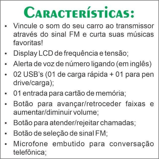 Transmissor Veicular Bluetooth FM - Foto 4