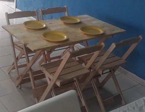 Jogo de mesa com cadeiras dobrável em madeira - Foto 4