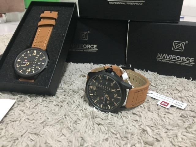 Relógios De Pulso Masculino Naviforce Quartzo Couro lacrado a pronta entrega - Foto 2