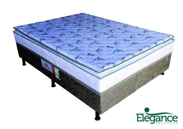 Cama box elegance com pilow 10cm de espuma inspecionada pelo inmetro zap *