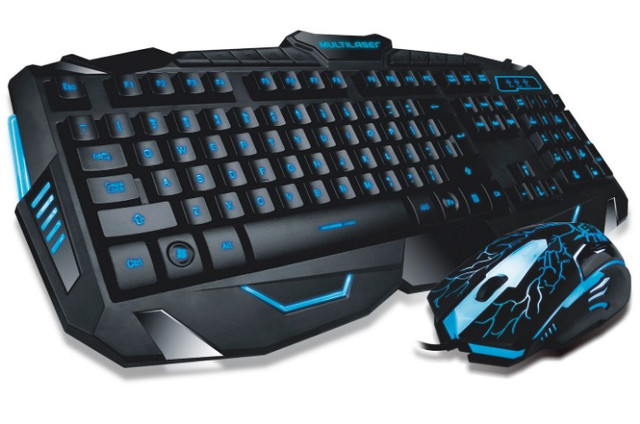 Kit Gamer Teclado E Mouse Multilaser Lightning Azul Usb TC195