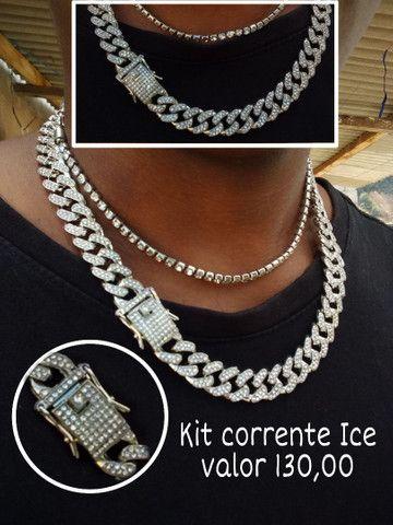 Corrente cravejada, kit ice, relogio patek, aneis e dedeira cravejada - Foto 2