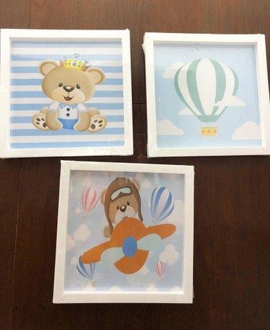 Kit infantil com 3 quadros para a decoração do quarto do bebê. 25x25 - Foto 5
