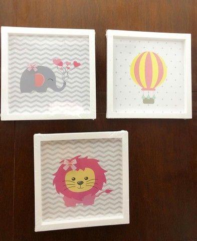 Kit infantil com 3 quadros para a decoração do quarto do bebê. 25x25 - Foto 2