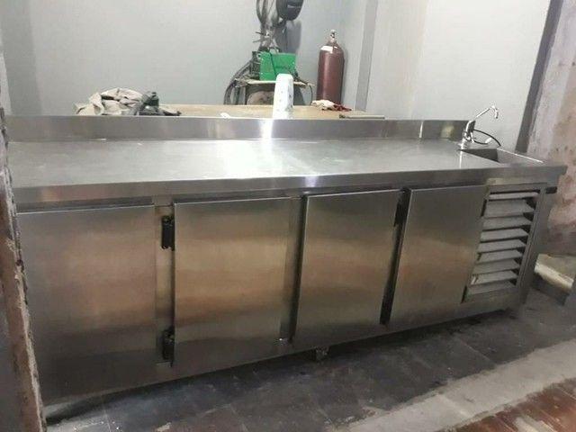 balcão freezer/refrigerado todo de aço inox, tudo 100% inoxidavel!!!!! - Foto 2