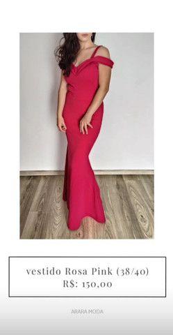 Vestido de festa rosa pink 150,00 em 3x no cartão.