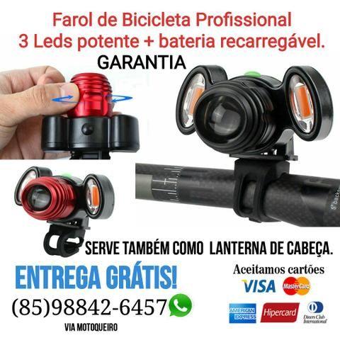 Farol de Bicicleta PROFISSIONAL + bateria recarregável. garantia e Entrega Grátis.