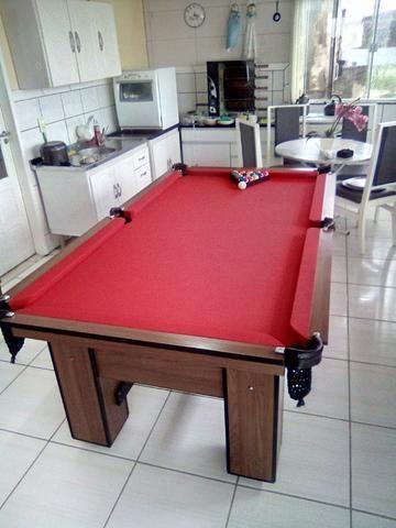 Mesa de Bilhar Charme Imbuia Tecido Vermelho   - Foto 5