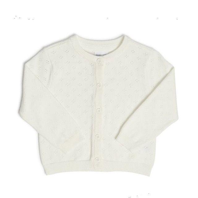Cardigan Tricot - Off White<br>Cor: Branco<br>T: 1-3M<br>