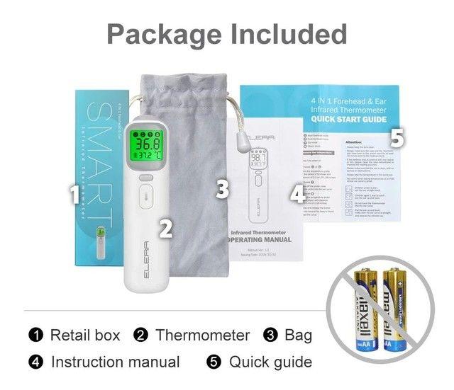 Termômetro digital ELERA sem contato para uso adulto/infantil + oxímetro - Foto 4