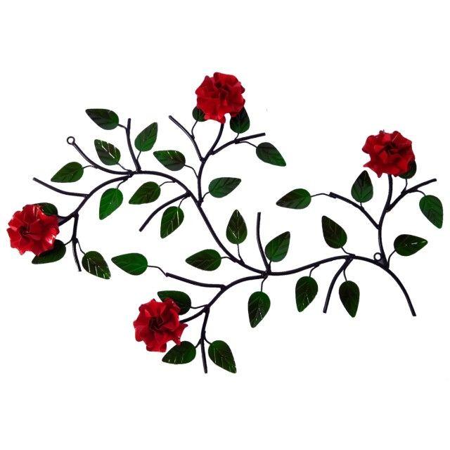 Quadro de ferro super resistente com 4 rosas artesanato rústico decoração - Foto 3