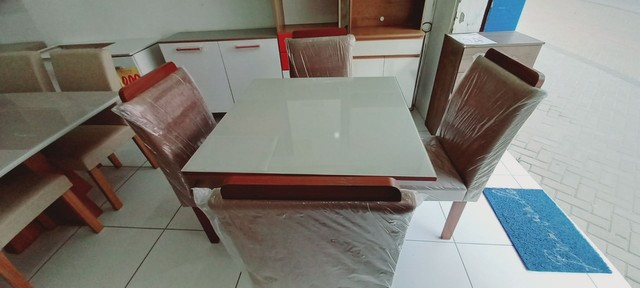 Conjunto Mesa LJ Moveis PIETRA 4 Cadeiras 90 X 90cm - Foto 2
