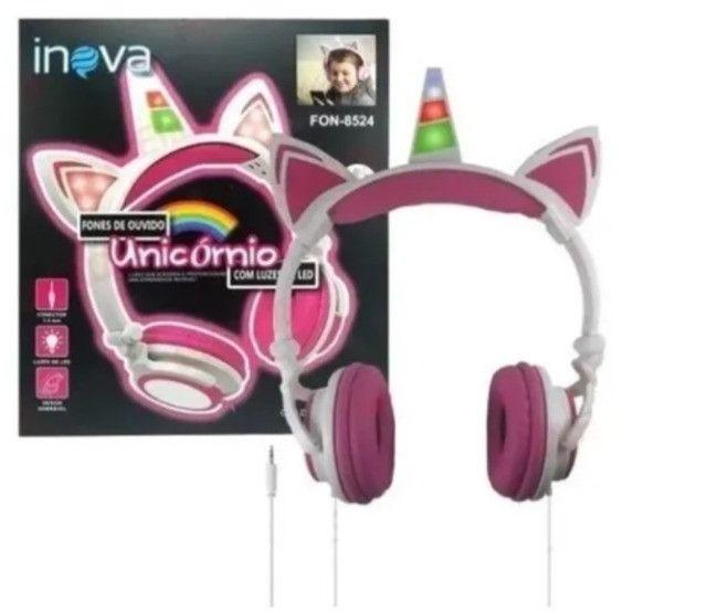 Fone De Ouvido Infantil Unicórnio para Meninas com Luzes de LED. Mod. FON-8524 Inova