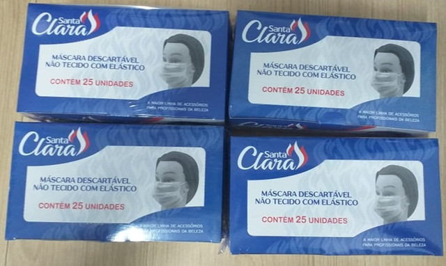 100 máscaras descartável c/ elástico - santa clara