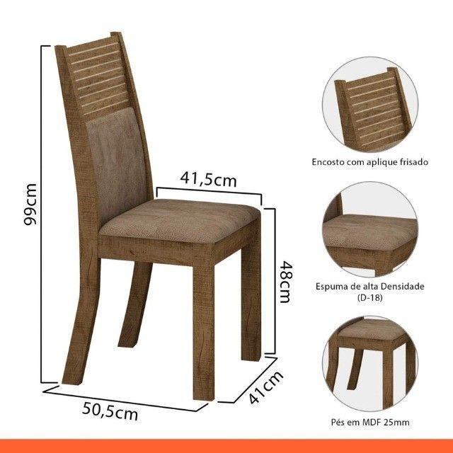 Conj.Mesa de Jantar Leifer 4 cadeiras Napoli 90x90 c/Tampo vidro (Canela/offwhite)  - Foto 3