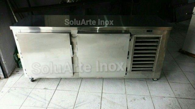balcão freezer/refrigerado todo de aço inox, tudo 100% inoxidavel!!!!! - Foto 3