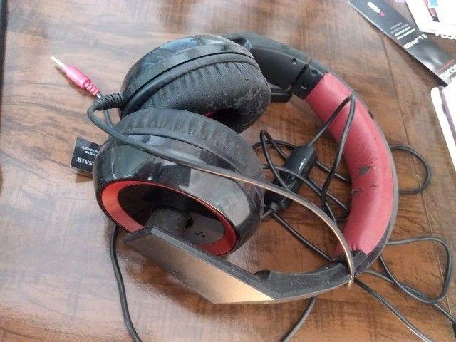 Headset Gamer Corsair P2 Stereo 2.0 Preto E Vermelho Hs30 - Foto 4