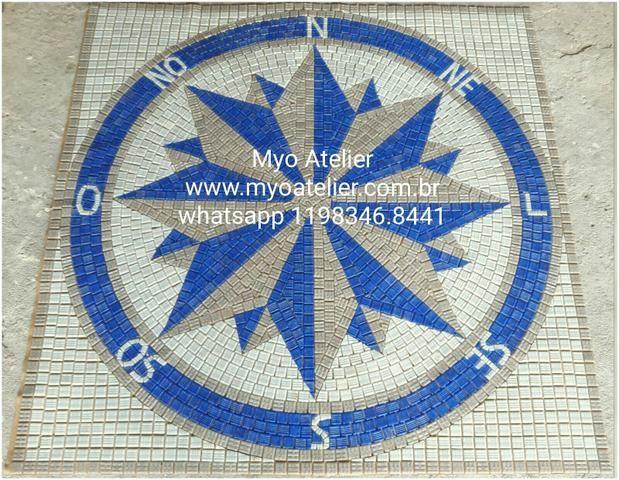 Mandala para piso, parede, piscina, rosa dos ventos, tapete mosaico - Foto 4
