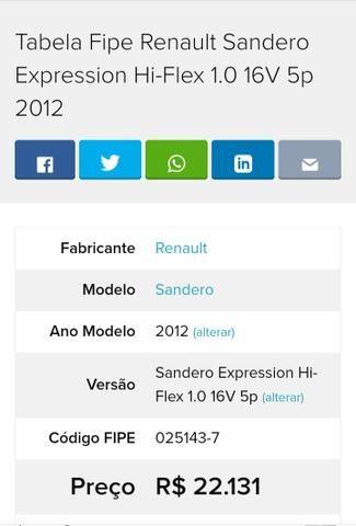 Renault Sandero 2012, 1.0. Bem Abaixo FIPE. BAIXA KM !! - Foto 10