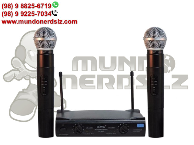 Microfone Sem Fio Duplo Uhf Wireless 110/220 Vts Lelong Le-906 em São Luís Ma - Foto 5