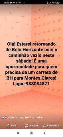 Frete de Belo Horizonte para Montes Claros