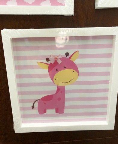 Kit infantil com 3 quadros para a decoração do quarto do bebê. 25x25 - Foto 3