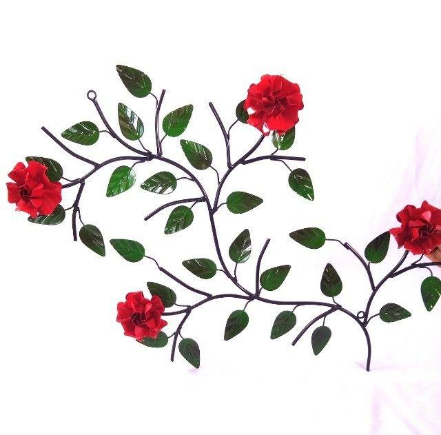 Quadro de ferro super resistente com 4 rosas artesanato rústico decoração - Foto 4