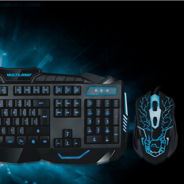 Kit Gamer Teclado E Mouse Multilaser Lightning Azul Usb TC195 - Foto 4