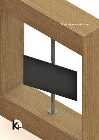Suporte TV 360º _ Fixação Móvel e Teto - Inox Brilhante - Regulagem Altura de 1,45m a 2m - Foto 4