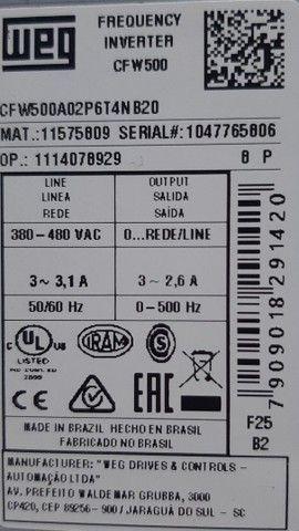Inversor de Frequência WEG CFW500 380V 2.6A 1CV Novo - Foto 6