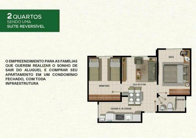 Residencial Vista do Bosque, apartamentos com 2 quartos sendo 1 suíte reversível, - Foto 12