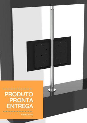 Suporte TV 360º _ Fixação Móvel e Teto - Inox Brilhante - Regulagem Altura de 1,45m a 2m