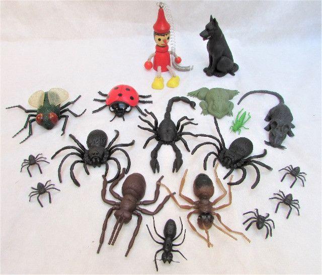 Kit Insetos De Borracha Aranhas Formigas Mosca C/18