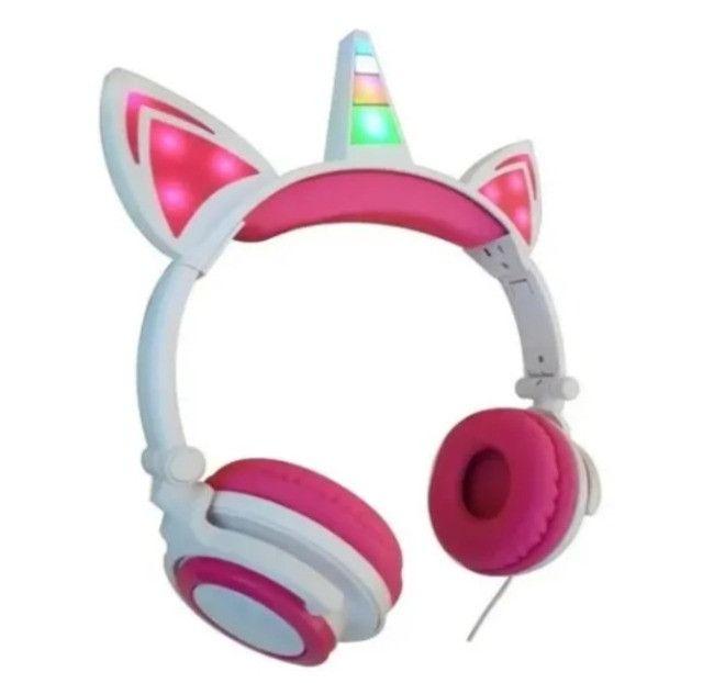 Fone De Ouvido Infantil Unicórnio para Meninas com Luzes de LED. Mod. FON-8524 Inova - Foto 2