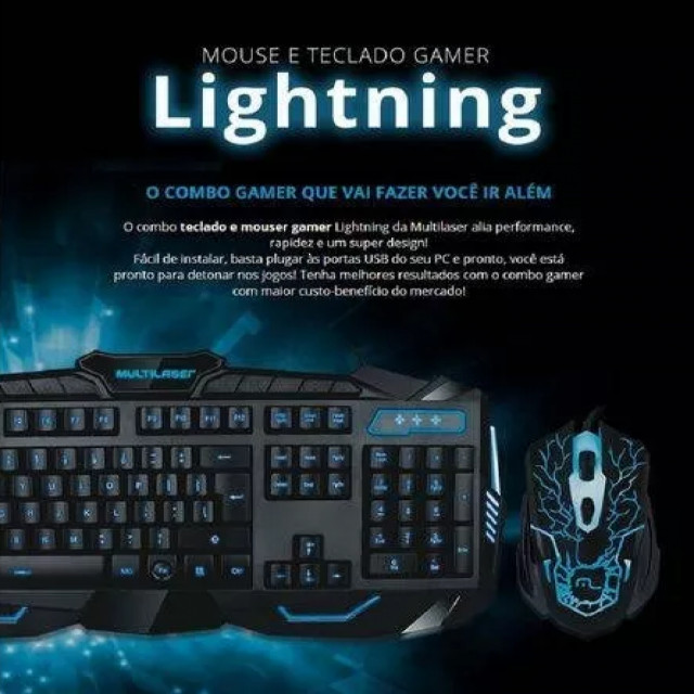 Kit Gamer Teclado E Mouse Multilaser Lightning Azul Usb TC195 - Foto 3