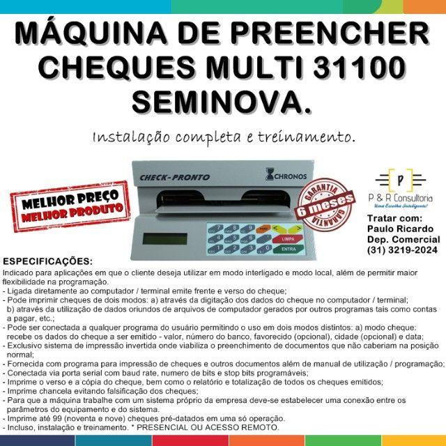 Máquina de Preencher Cheques Multi 31100, SemiNova. Completa.