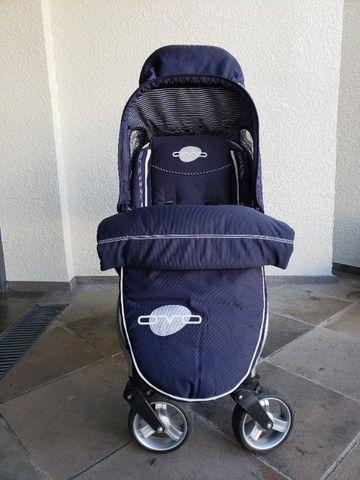 Carrinho Duplo Gêmeos - Brevi Sistema de Viagem, Azul Marinho - Foto 4