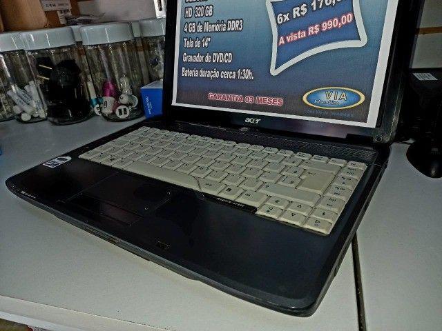 Notebook Acer    DualCore  320Gb HD  4GB   Formatado C/Garantia