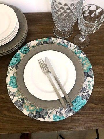 Conjunto 4 pratos rasos cinza - Foto 3