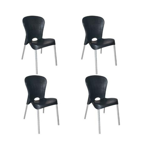 Kit com 4 Cadeiras com pés de aço Montes Claros Preta - Antares