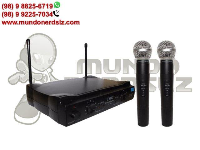 Microfone Sem Fio Duplo Uhf Wireless 110/220 Vts Lelong Le-906 em São Luís Ma - Foto 4